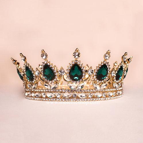 Corona princesa dorada verde TV057