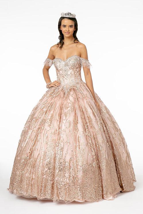 Vestido Rose gold glitter offshoulder