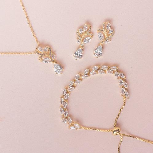 Set de joyería organico dorado