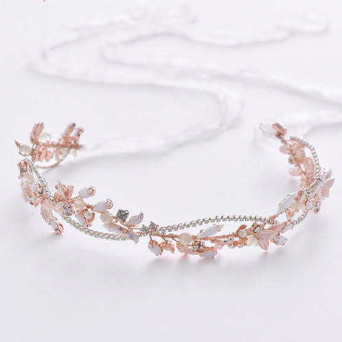 Guía headband rose gold piedras blancas