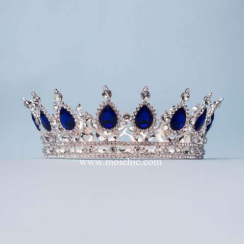Corona princesa plata azul TV081