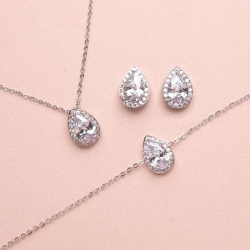 Set de joyería gota + pulsera plata