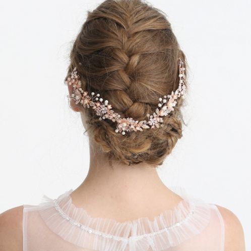 Guia headband rose gold perlas