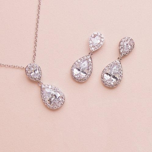 Set de joyería sencillo gota doble plata