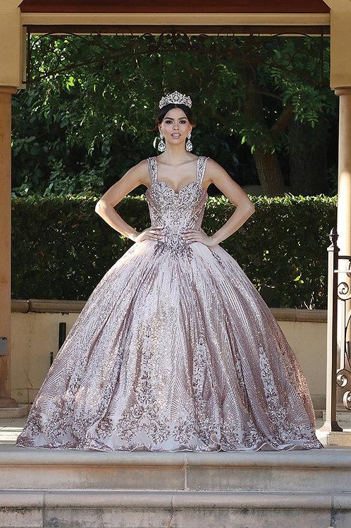 Vestido XV glitter y lentejuela rose gold