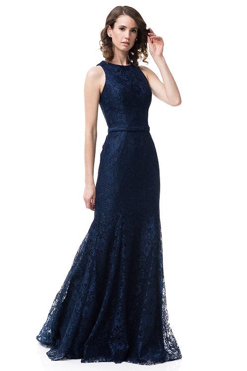 Vestido dama encaje azul marino