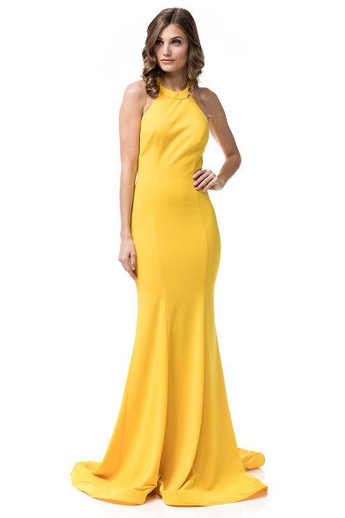 Vestido spandex halter amarillo