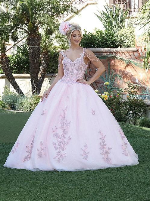 Vestido XV bordado tul rosa