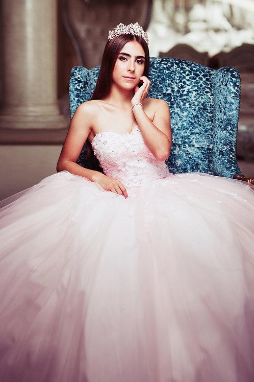Vestido quinceaños XV Rosa flores 3D