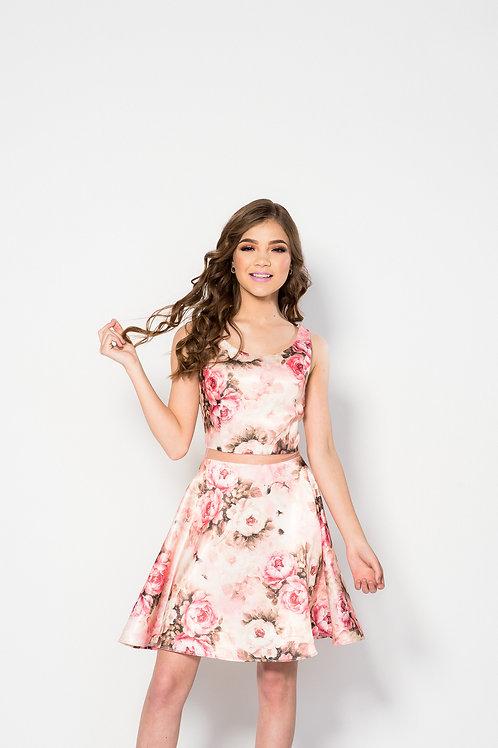 Vestido estampado satín vintage rosa falda linea A