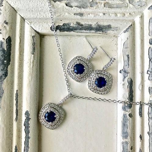 Set de joyería cojín piedra azul