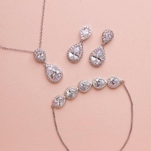 Set de joyeria gota doble plata