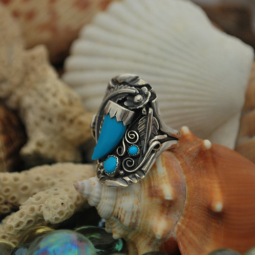 Navajo Inspired Sterling and Turquoise Southwestern Style Handmade Ring