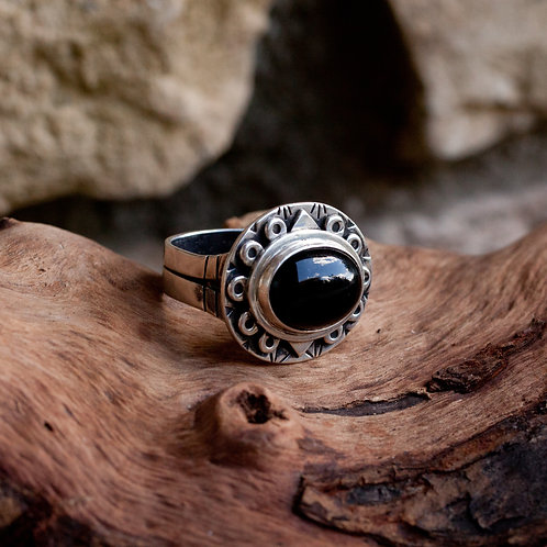 Handcrafted Unisex Black Onyx and Sterling Ring