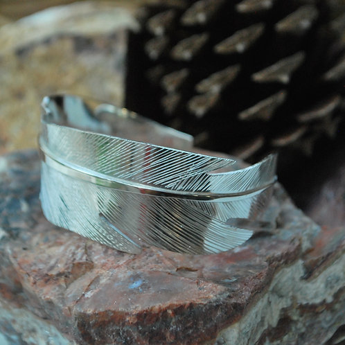 Sterling SilverWide Feather Cuff