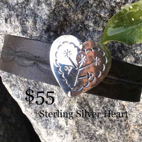 Hand Tooled Leather with Sterling Heart