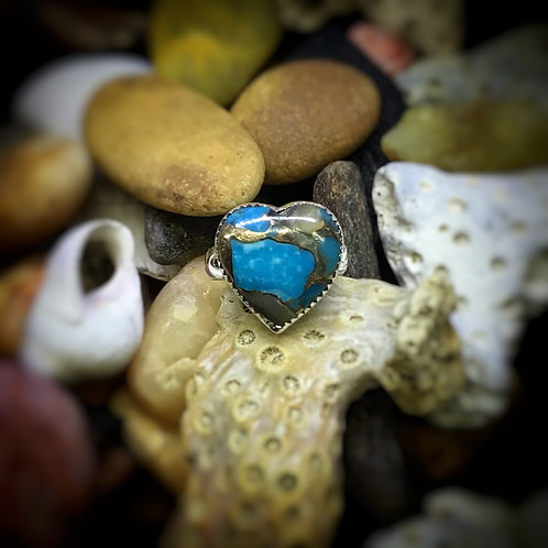 Turquoise and Abalone Silver Ring