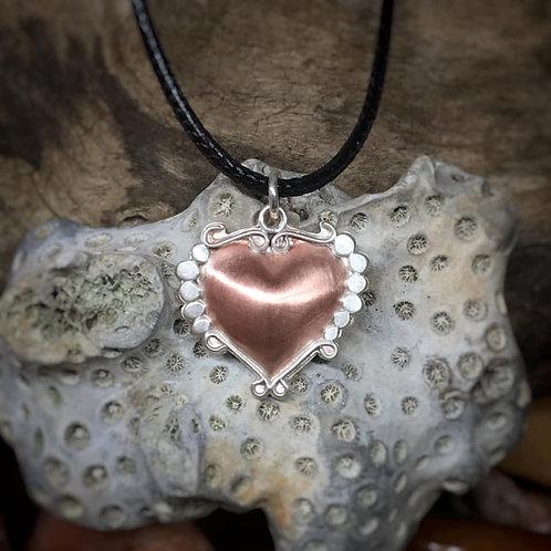 Copper and Sterling Repoussé Heart Pendant