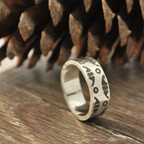 Hand Stamped Wide Band or Thumb Ring