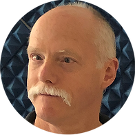 Circle shaped image, headshot of author Ken Brandt