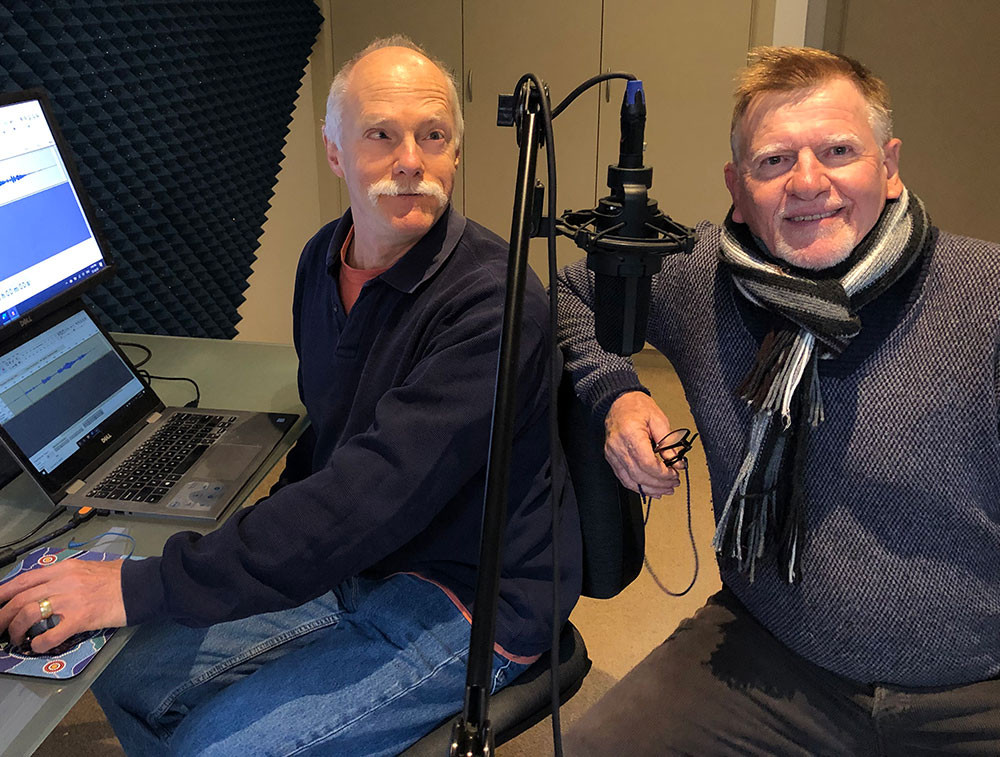 Narrator Gil Tucker and author Ken Brandt while recording the audio book version of Positive Vision.