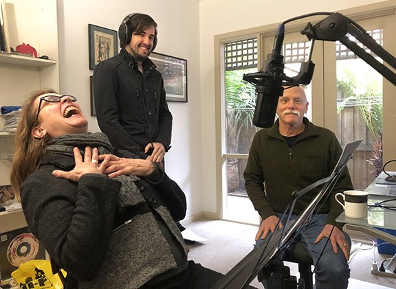 Quote narrator Joyce Agee, audio engineer James McGowan, and author Ken Brandt having a good laugh while recording the audio book