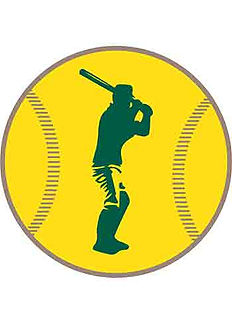 Baseball batter ready for the pitch, superimposed on the image of a large baseball.