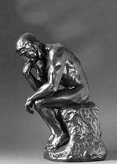Side view of Rodin's statue: The Thinker.