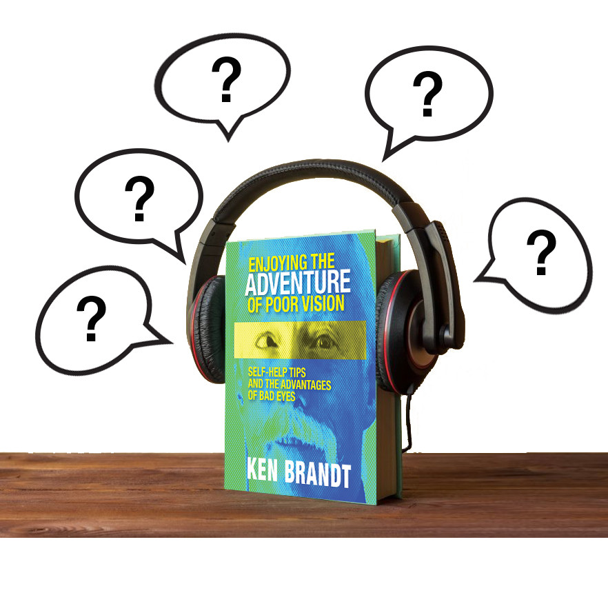 Image of the book wearing headphones and thinking about questions