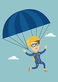 Happy skydiver wearing eyeglasses and passing some clouds while floating downward