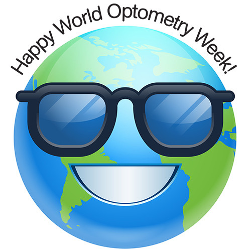 Smiley face globe wearing sunglasses and smiling with the words Happy World Optometry Week!
