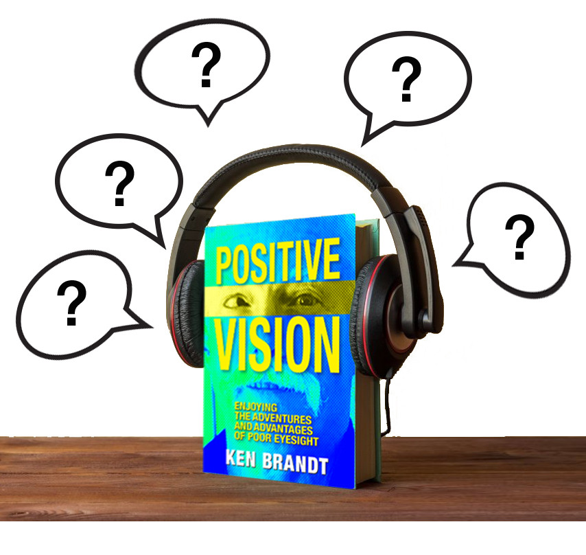 Positive Vision book wearing headphones and thinking about questions