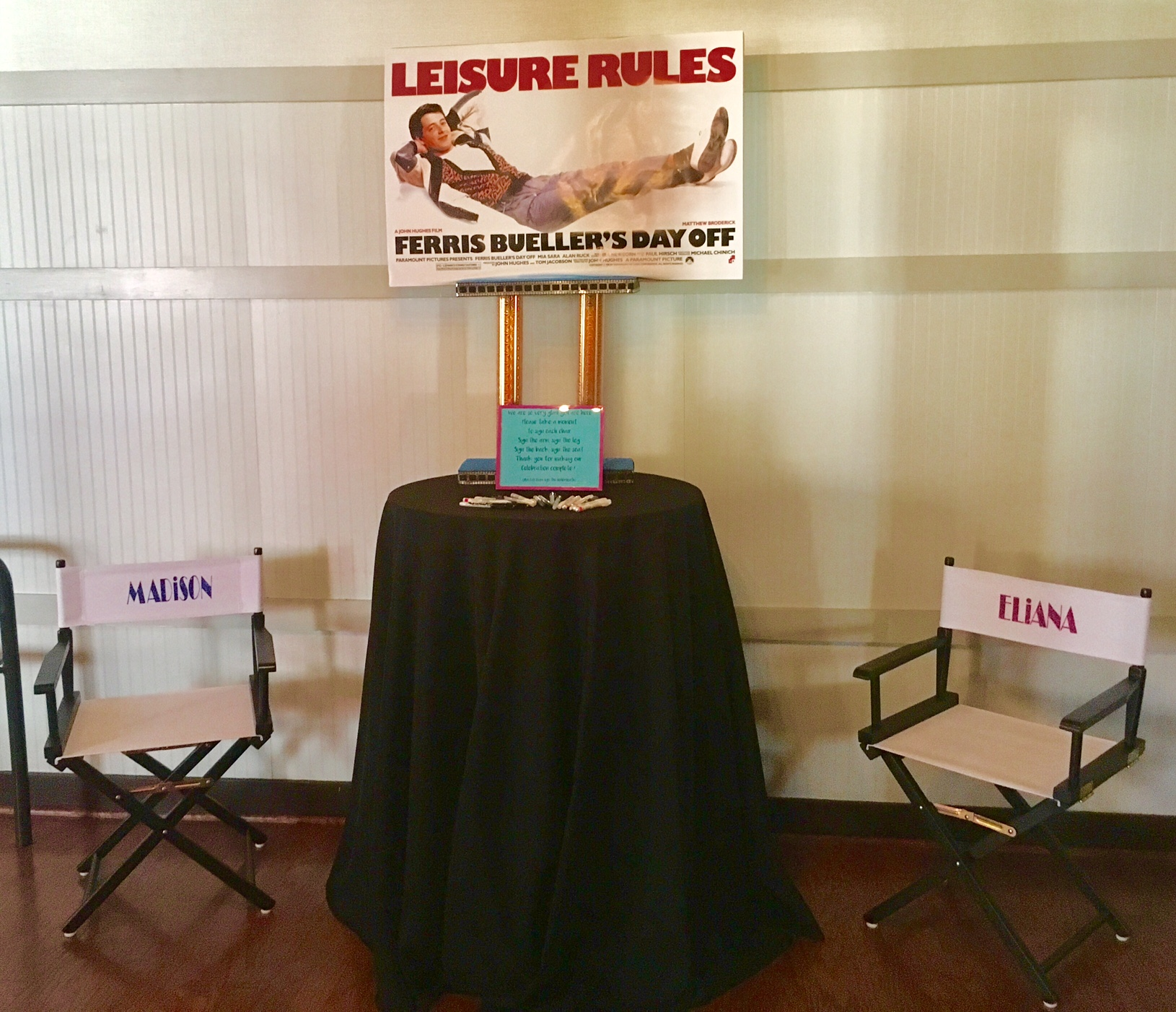 """Guest book"" directors' chairs"