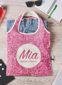 Katoenen tas met all-over eigen ontwerp