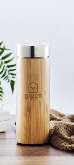 RVS drinkfles met bamboe