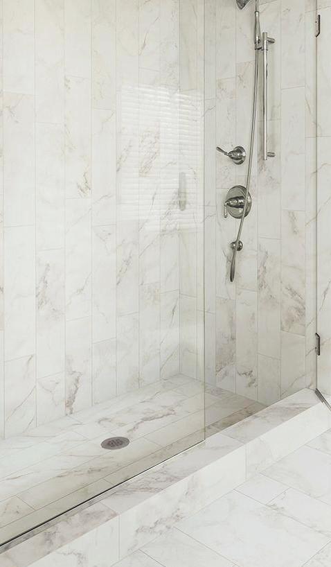 Porcelain Marble Tile Shower + Floor