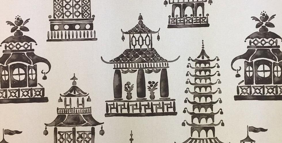 Ming Pagoda Fabric - Charcoal