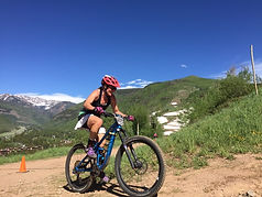 Sara Fahrney, Accountant mountain biking in Eagle, Colorado