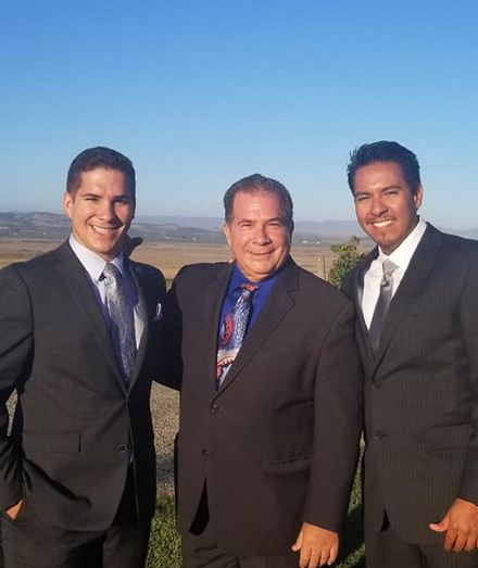 Stephen (left) with his dad (middle) and brother in-law (right).