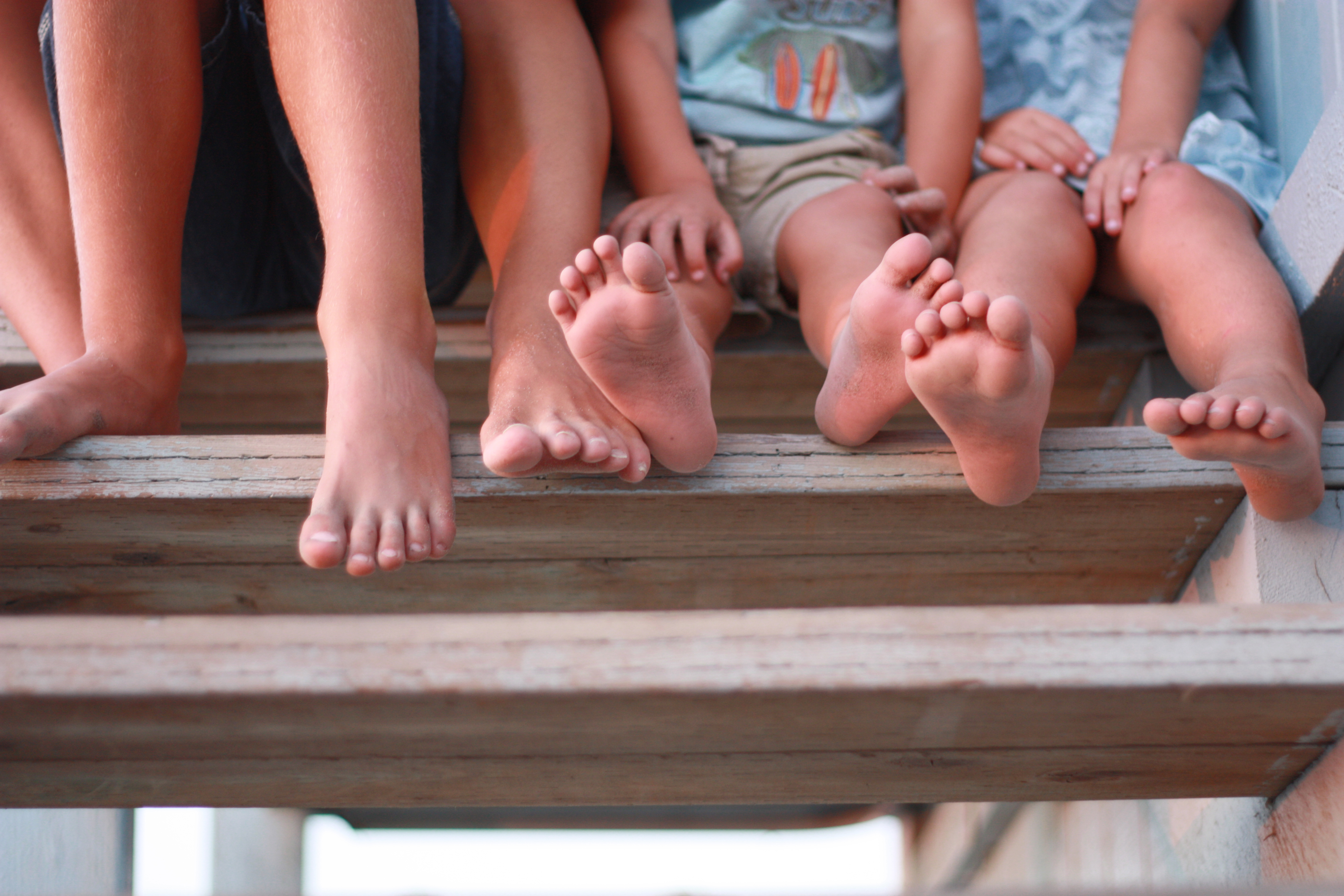 Feet of family of five
