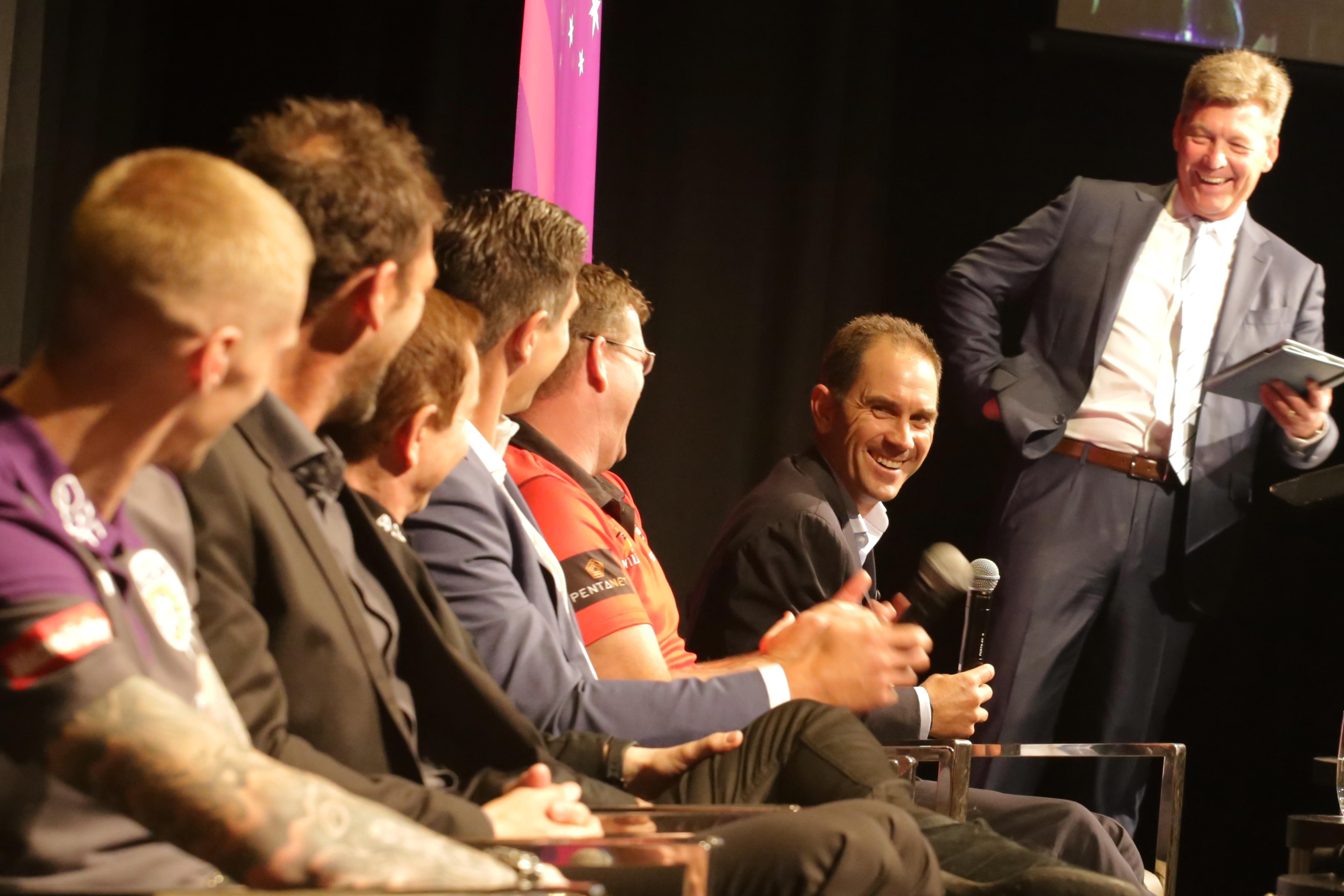Men on stage