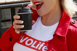 Mouth and coffee cup