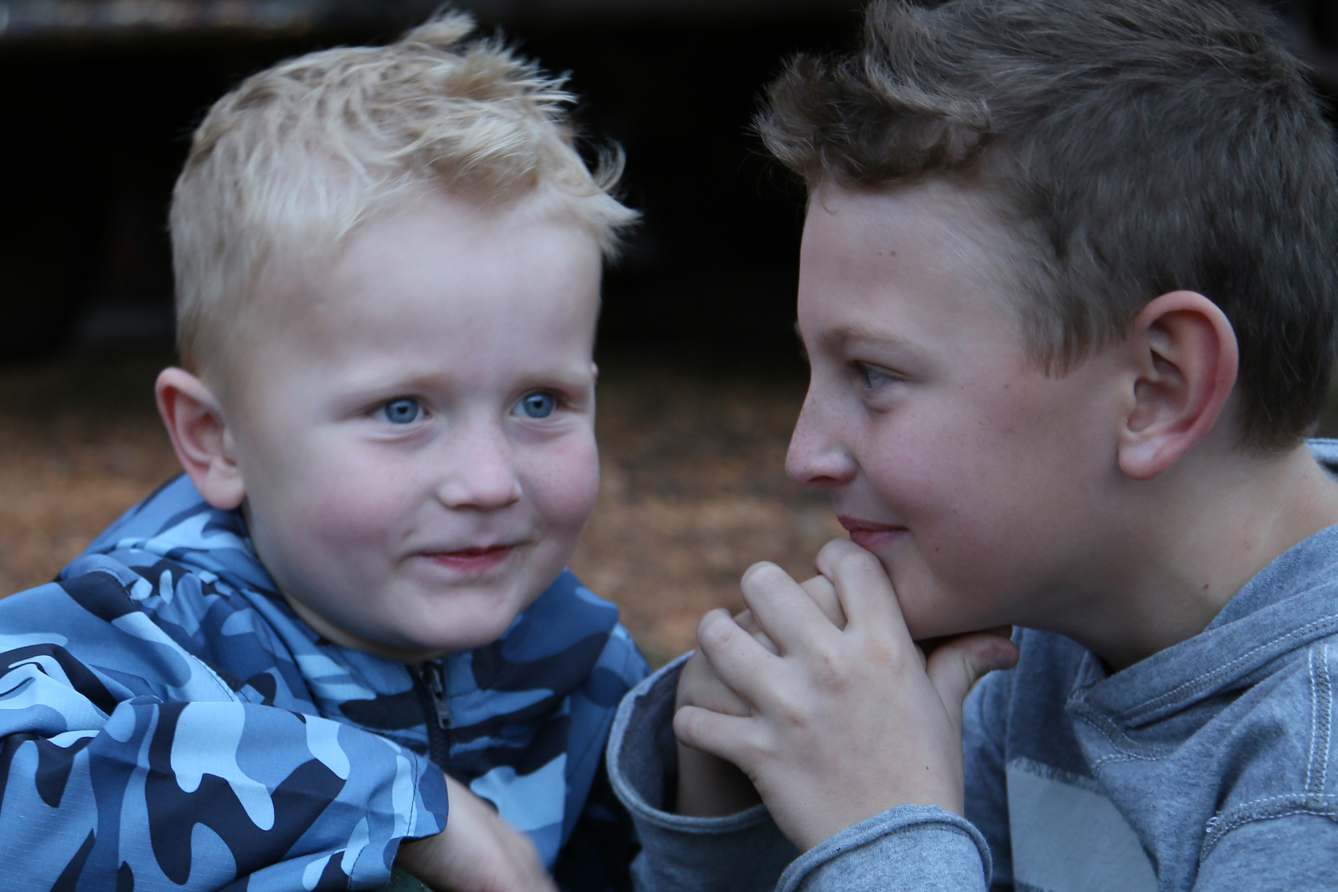 Two boys laughing
