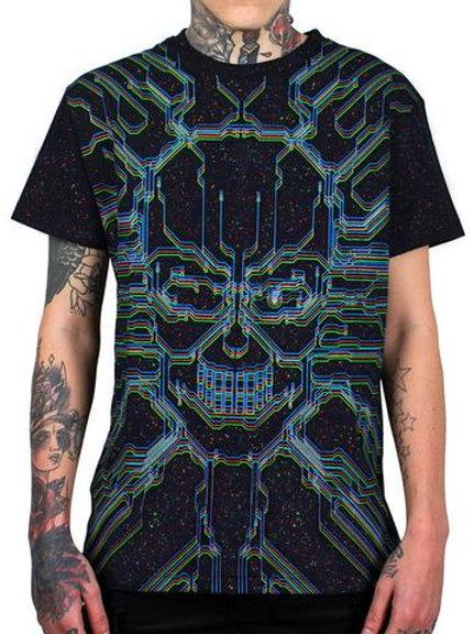 Camiseta Cyberdog com estampa MicroSkul com salpicos reativos U.V.
