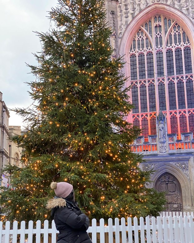 A person looking up at a Christmas tree