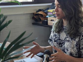 Woman sat at a desk