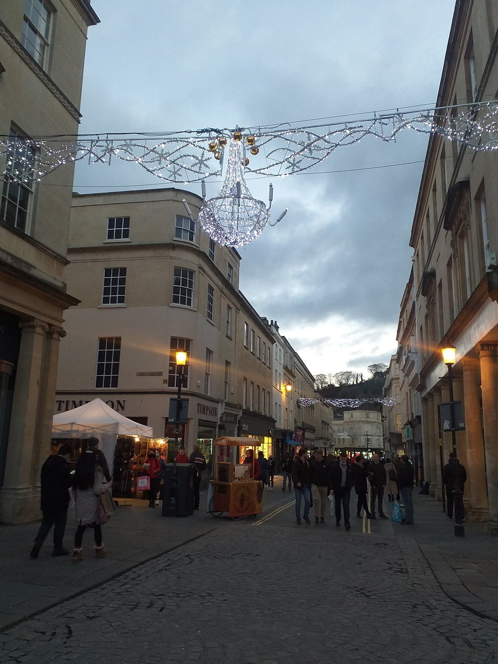 Streets decorated with Christmas lights
