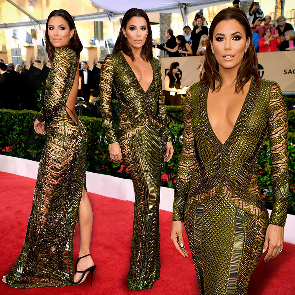 A woman wearing a long, sparkly green dress.
