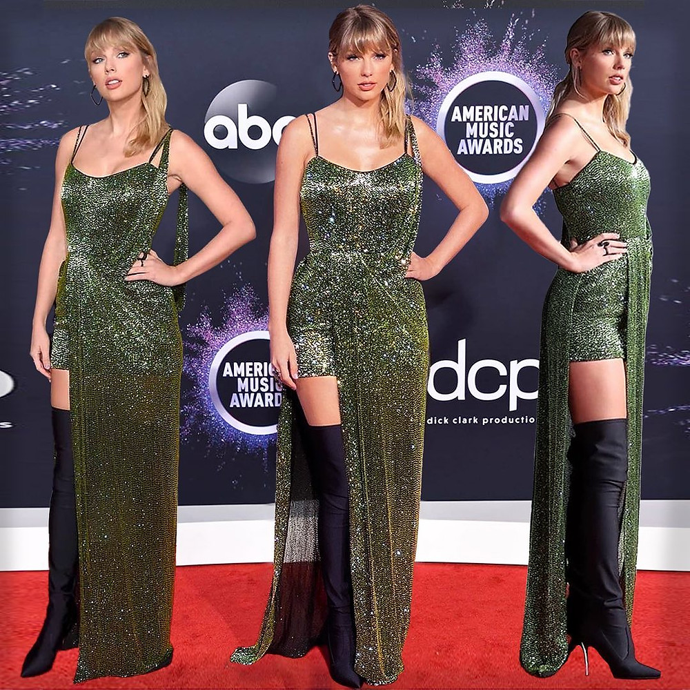 A woman wearing a long, sparkly green dress with long black boots.