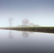 House on Mound in Mist, Zeeuws-Vlaanderen, Netherlands, 2020